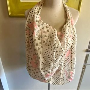 Free people cloth tote bag cream, pink floral print good condition